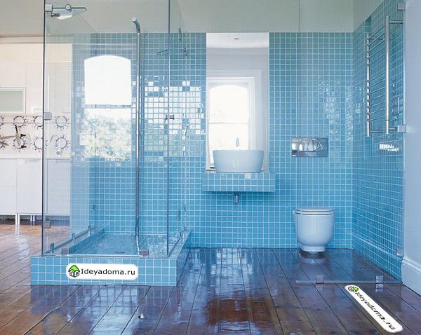 Blue bathroom floor tile